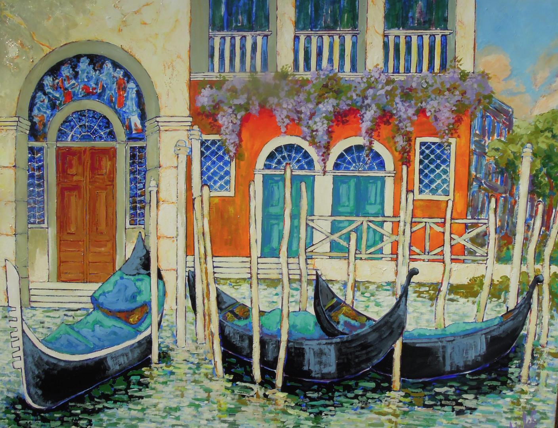 Gérard Michel - gondoles sur le grand canal
