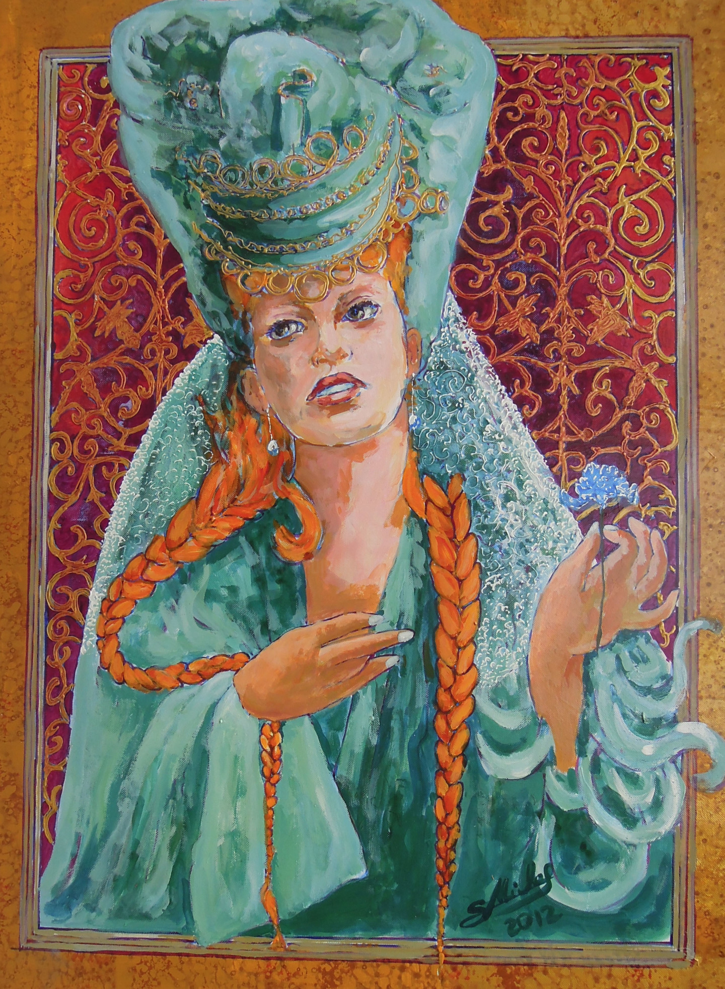 Gérard Michel - Portrait de femme avec œillet bleu