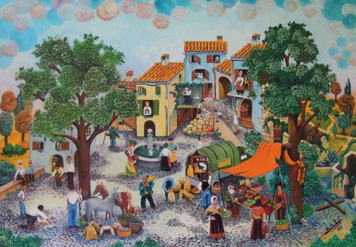 Gérard MICHEL - Le marché au village