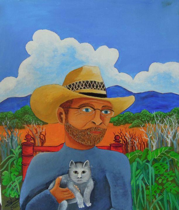 Gérard MICHEL - portrait avec chat